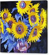 Nine Sunflowers With Black Background Canvas Print