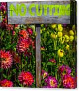 No Cutting Sign In Garden Canvas Print