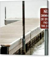No Swimming Or Diving Canvas Print