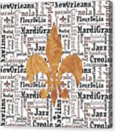 Nola Typography Fleur De Lis Canvas Print
