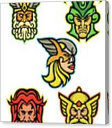 Norse Gods Mascot Collection Canvas Print