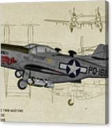 North American F-82b Twin Mustang - Profile Art Canvas Print