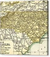 North Carolina Antique Map 1891 Canvas Print