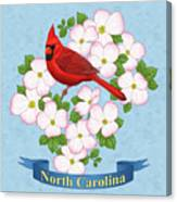North Carolina State Bird And Flower Canvas Print