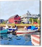 North Shore Art Association At Pirates Lane On Reed's Wharf From Beacon Marine Basin Canvas Print