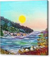 North With Yellow Sun Canvas Print