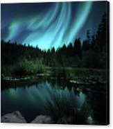 Northern Lights Over Lily Pond Canvas Print