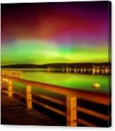 Northern Lights Over Okanagan Lake Canada Canvas Print
