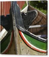 Norway, Reine, Boat In Fishing Village Canvas Print