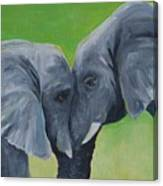 Nose To Nose In Green Canvas Print