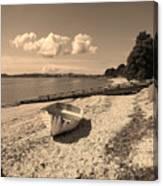 Nostalgia Boat On Beach Canvas Print