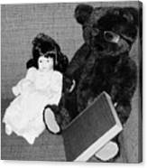 Nostalgic Doll And Bear With Reading Book Canvas Print