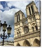 Notre Dame And Lamppost Canvas Print
