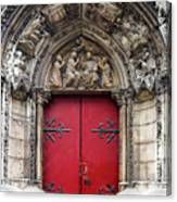 Notre Dame Cathedral Side Door Architecture In Paris Canvas Print