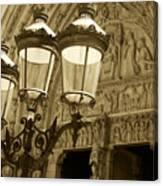 Notre Dame Street Lights Paris France Sepia Canvas Print