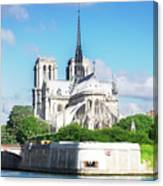 Notre Dame Over Water Canvas Print