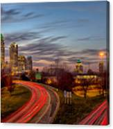 November Sun Setting Over Charlotte North Carolina Skyline Canvas Print