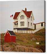 Nubble Lighthouse Shed And House Canvas Print