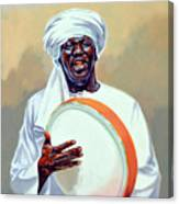 Nubian Musician Player Playing Duff Canvas Print
