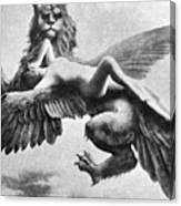 Nude And Griffin, 1890s Canvas Print