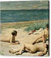 Nude Bathers On The Beach Canvas Print