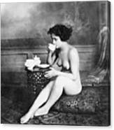 Nude Drinking Tea, 19th Ct Canvas Print