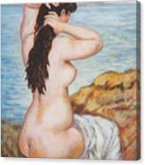 Nude Fixing Her Hair My Reproduction Of Renoirs Work Canvas Print
