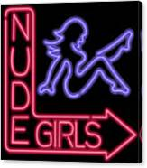 Nude Girls Neon Sign Canvas Print