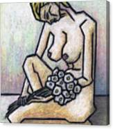 Nude With White Flowers Canvas Print