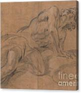 Nude Youth Leaning On A Cloud And Gazing Upward Canvas Print