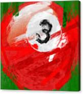 Number Three Billiards Ball Abstract Canvas Print