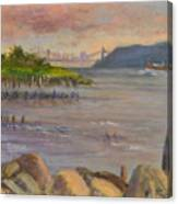 Ny Skyline And Gwb From Hastings On Hudson Canvas Print