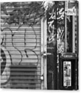 Nyc Graffiti Blk N Wht Canvas Print
