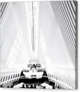 Nyc- Inside The Oculus In Black And White Canvas Print