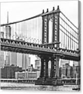 Nyc Manhattan Bridge In Black And White Canvas Print