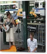 Nyc Street Musicians Banjo Canvas Print