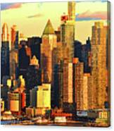 Nyc West Side In Gold And Blue  Canvas Print