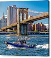 Nypd On East River Canvas Print