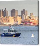 Nypd Patrol Boat In East River Canvas Print