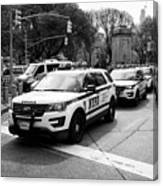nypd police patrol vehicles parked at columbus circle New York City USA Canvas Print