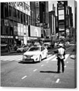 nypd traffic cop on Times Square New York City USA Canvas Print