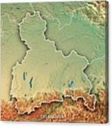 Oberbayern Regierungsbezirk Bayern 3d Render Topographic Map Bor Canvas Print
