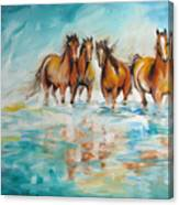 Ocean Breeze Wild Horses Canvas Print