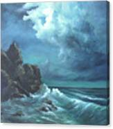 Seascape And Moonlight An Ocean Scene Canvas Print