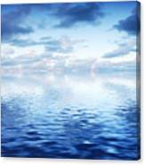 Ocean With Calm Waves Background With Dramatic Sky Canvas Print