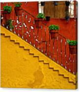 Ochre Staircase With Red Wall 2 Canvas Print