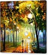 October Reflections - Palette Knife Oil Painting On Canvas By Leonid Afremov Canvas Print