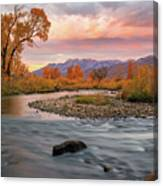 October Sunrise At The Provo River. Canvas Print