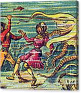Octopus Attack, 1900s French Postcard Canvas Print