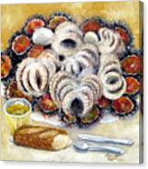 Octupus And Sea Urchins Dinner Canvas Print